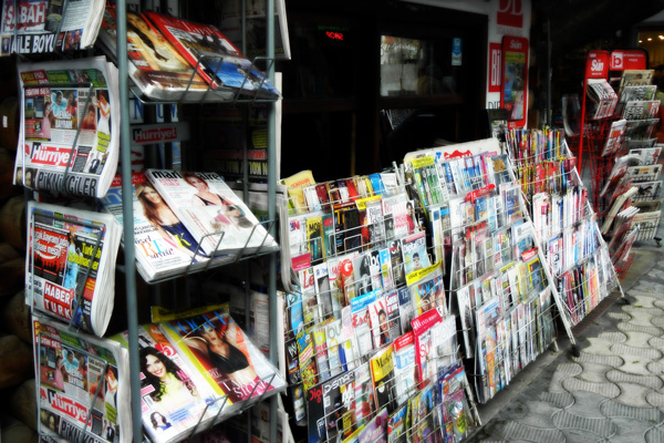 Un stand de presse à Marmaris